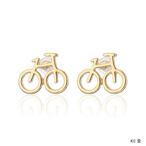 WANGLETA Ohrstecker Ohrhänger Geschenkidee für Frauen einfach schöne Fahrrad Ohr schraube Europa plating hypo-allergene Ohrringe KC Gold