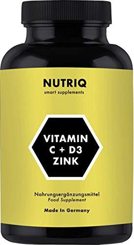 Vitamin C + D3 + Zink von NUTRIQ - 180 Kapseln für 6 Monate - hochdosiert