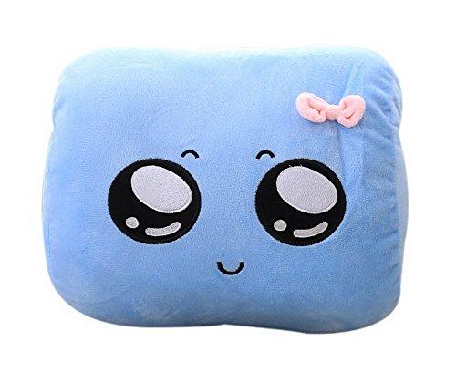 Koala Superstore Almohada de Mano Linda Hold Almohada Nap Rest Almohada Ojos Grandes Emoji Cálida Mano Cubierta Azul