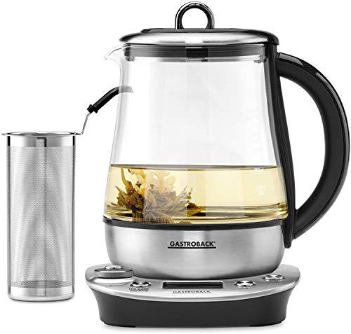 Gastroback 42438 teiera in Vetro per la Preparazione del tè 1,5 L 1400 W Argento, Trasparente