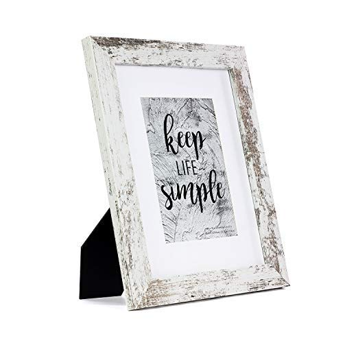 HomeMe 8x10 White Picture Frame - Made to Display Pictures 5x7 with Mat or 8x10 Without Mat - Wide Molding - Wall Mounting Material Included