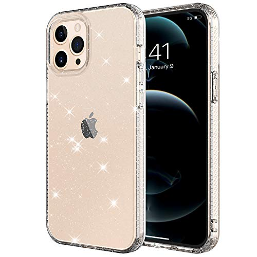 Muntinfe Glitter Clear Case for iPhone 12 Pro Max 6.7', Bling Sparkle Cute Girls Women Soft TPU Slim Fit Drop Protection Shockproof Case Back Cover for Apple iPhone 12 Pro Max 6.7' 2020, Clear