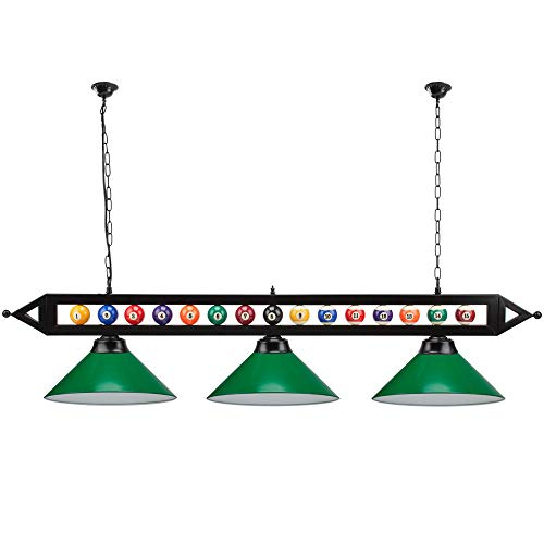 "59"" Hanging Billiard Light for 7ft/8ft/9ft Pool Tables - (Several Colors Lamp Shades Available) (Green Lamp Shades)"