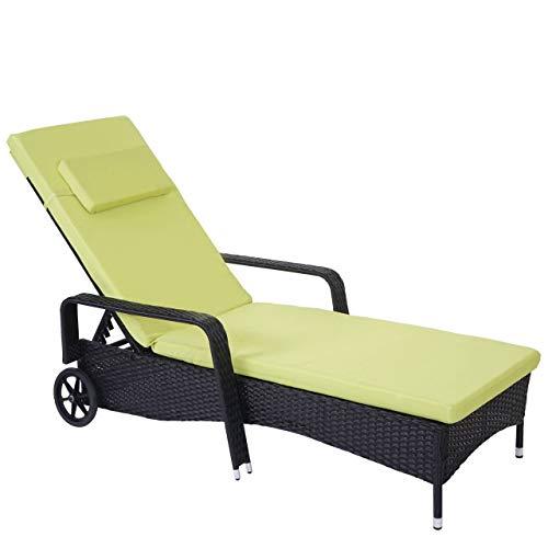 Mendler Poly-Rattan Sonnenliege Carrara, Relaxliege Gartenliege Liege, Alu ~ anthrazit, Kissen hellgrün