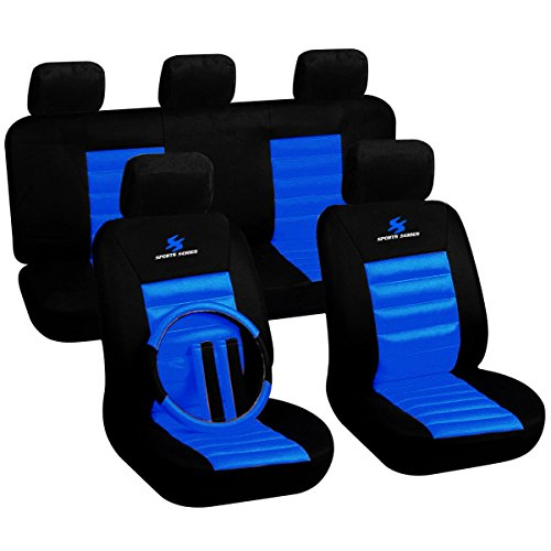 WOLTU Universal-Autositzbezüge, Sportserie, Sitzbezüge, Schwarz Blau (AS7264)