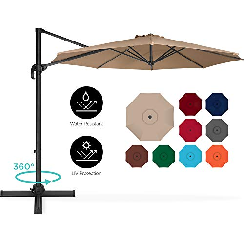 Best Choice Products 10ft 360-Degree Rotating Cantilever Offset Hanging Market Patio Umbrella w/Easy Tilt - Tan