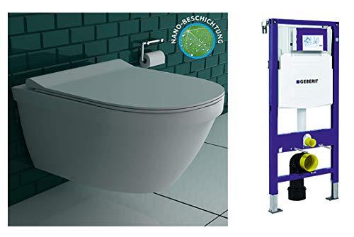 Spülrandlose Lotuseffekt Hänge-Toilette mi tGeberit Spülkasten UP320 Duofix 111300005 für Trockenbau inkl. abnehmbaren WC-Sitz mit sanft schließender Absenkautomatik   inkl. LotusClean-Beschichtung