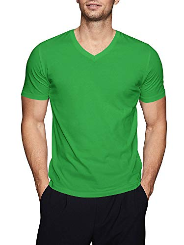 Mens Basic V Neck Tee Solid Fit T Shirts (Large,1hc04_ Green)