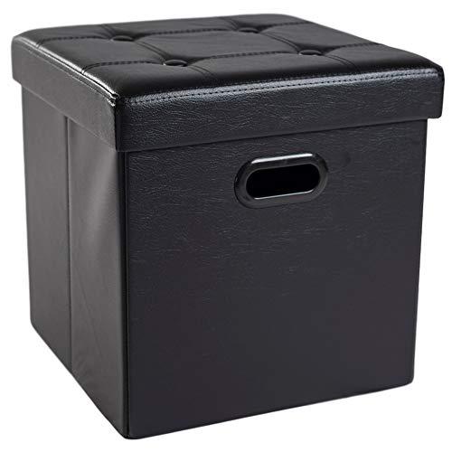 Theo&Cleo Sitzhocker mit Stauraum Sitzwürfel Sitzbox Aufbewahrungsbox mit Deckel Größe 38 x 38 x 38 cm Kunstleder Hocker Fusshocker Gepolstert Faltbar Fußhocker Schwarz