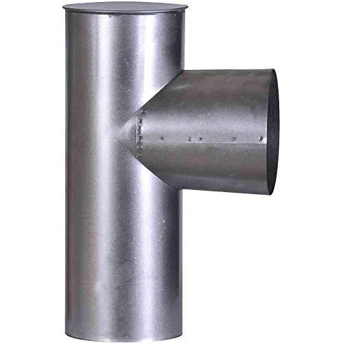 FIREFIX A120/KK FAL Kapselknie, 300 mm, ø 120 mm-Ofenrohre aus Stahlblech, 0,6 mm stark, innenliegend gemufft, Längen lasergeschweißt, Silber