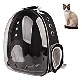 XZKING Cat Clear Backpack Carriers, Ventilate Transparent Space Capsule Backpack for Puppies Traveling, Bird Carrier Backpack (Black)