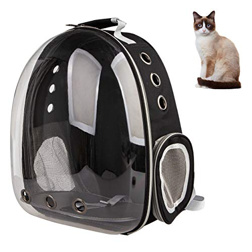 XZKING Cat Clear Carry Backpack, Ventilate Transparent Space Capsule Backpack for Puppies Traveling, Bird Carrier Backpack (Black)