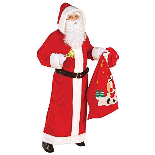 Widmann 1556K - Kostüm Luxus Weihnachtsmann, Set aus Mantel mit Kapuze und Gürtel, Farbe: Weiß-Rot, Verkleidung für Herren, Weihnachten, Nikolaus, St. Martin, Heilig Abend, Karneval