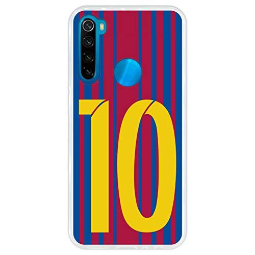 Hapdey Funda Transparente para [ Xiaomi Redmi Note 8 ] diseño [ Ilustración fútbol, número 10 ] Carcasa Silicona Flexible TPU