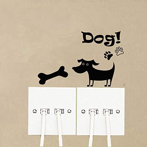 amayituo Knochen Vinyl Pet Dogs Schalter Aufkleber Mode Lustige Wandtattoos A3159Beschriftung Wechseln