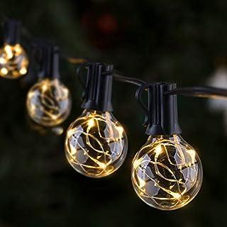 Outdoor LED String Lights, GlobaLink Garden Gazebo Lights, IP65 Waterproof 9.7m G40 Globe LED Festoon Lights with 30 Bulbs...