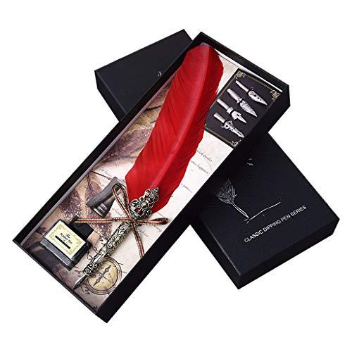 WE-WHLL Pluma estilográfica de Pluma Hecha a Mano Vintage con Puntas de Tinta Caligrafía Inglesa Escritura Papelería Regalo de Boda-Rojo