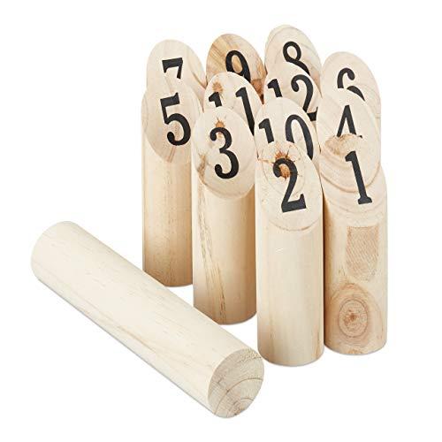 Relaxdays Kubb Wikingerspiel, skandinavisches Wurfspiel, naturbelassenes Holz, Outdoorspiel Erwachsene u. Kinder, natur