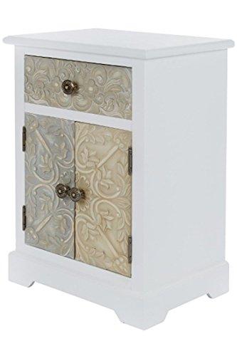 elbmöbel Kommode Schublade Tür Nachttisch weiß Creme Mehrfarbig im Shabby Chic Vintage Landhausstil aus Holz schmal H64 x B45 x T32 cm