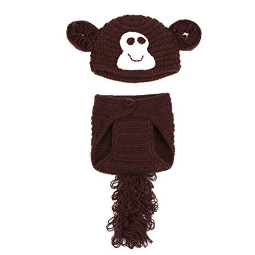 Neugeborenes Baby Mädchen/Jungen häkeln Kostüm Foto Fotografie Prop Hüte Outfits Monkey