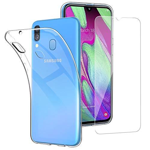 """Simpeak Cover Compatibile per Samsung A40 + Vetro Temperato Compatibile con Samsung Galaxy A40 5,9"""", Silicone Trasparente Compatibile con Galaxy A40 Custodia Pellicola Protettiva"""