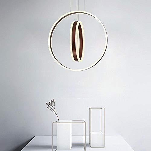 Hai Ying hanglamp met 2 LED-ringen, modern design, hedendaags metaal, acryl, zwarte kandelaar, LED-look, verstelbaar, 40 cm × 60 cm [energieklasse A ++]
