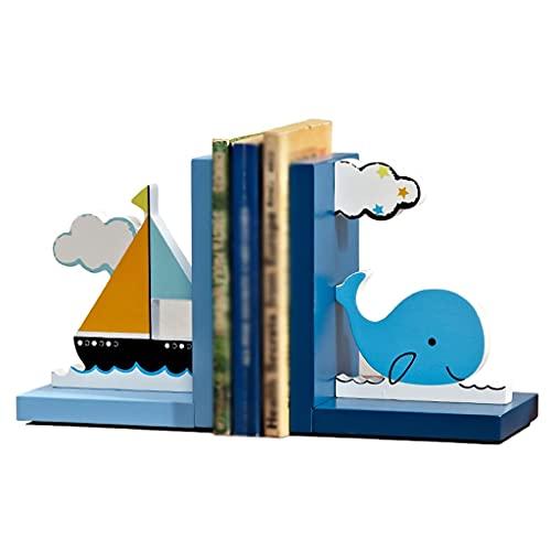 Lindas Bookends, Boat Fish Book Stand Soporte Escritorio de Almacenamiento Lectura Adornos Antideslizantes Finalizan, para Salas de Estudio Estudiantes Niños (Color : Blue White)
