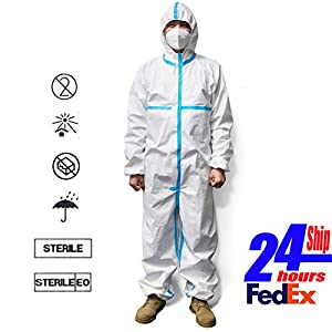 REDESS Disposable Protective Coverall Suit Elastic Waistband & Cuffs Isolation Suit with Long Front Zipper (XXL)