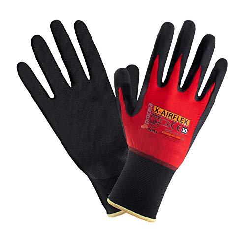 PROCERA X-AIRFLEX Arbeitshandschuhe Nylon Elasthan Handschuhe Herren beschichtet mit Polymer-Nitril-Schaum atmungsaktiv OEKO-TEX 100; Schwarz Rot (1, T10)