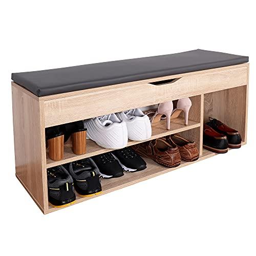 RICOO WM034-ES-A Banco Zapatero 104x49x30cm Armario Interior con Asiento Organizador Zapatos Mueble...