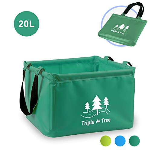 Triple Tree Outdoor Faltschüssel Faltbarer Eimer, TRIPLE TREE 15L Vier Ecken Sind Mit PVC-Rohr befestigt, Multifunktionseimer, Einfach zu Tragen, Geeignet für Camping, Tourismus, Angeln usw.(Grün)