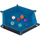 SIQUK Tavola per Dadi, Cuoio Esagonale Pieghevole in PU e Supporto in Velluto Cielo Blu per Dungeons And Dragons Gioco D & D Rpg Dice e Altri Giochi da Tavolo
