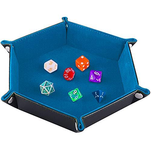 SIQUK Tablero de Dados Bandeja de Dados, Plegable de Cuero de Hexagonal de la PU y Soporte de Dados de Terciopelo Cielo Azul para Mazmorras y Dragones Juegos de Dados RPG D & D y Otros Juegos de Mesa