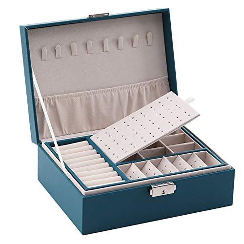 Estuche para joyas Estuche organizador de joyas de doble capa Estuche de almacenamiento de exhibición de cuero PU para mujeres Estuche para joyería grande con candado para aretes Anillo Collar Pulsera