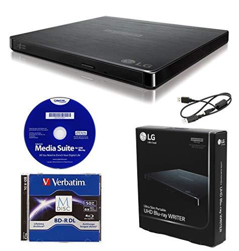 LG BP60NB10 Portable 6X Ultra HD 4K Blu-ray Burner External Drive with CyberLink Software, 50GB M-DISC BD-R DL, and USB Cable - Burns CD DVD BD DL BDXL Discs