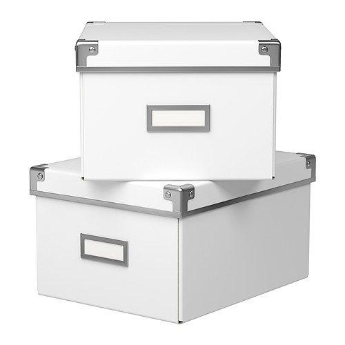IKEA KASSETT ふた付きBOX ホワイト 28×35×18 30163156