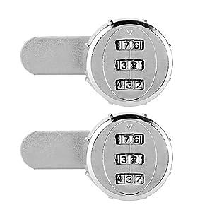 eecoo Cerradura Mecánica De La Contraseña de 30 mm/1.18 Pulgadas, Paquete de 2, Cerradura de código de gabinete mecánico de Seguridad de aleación de Zinc de Alta dureza, Utilizada para Cajas Fuertes