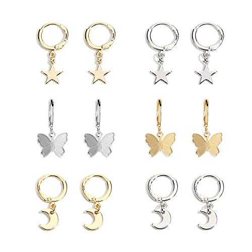 6 Pairs Butterfly Hoop Earrings Set Star Moon Small Mini Huggie Charm Hoop Drop Dangle Earring for Women and Girls