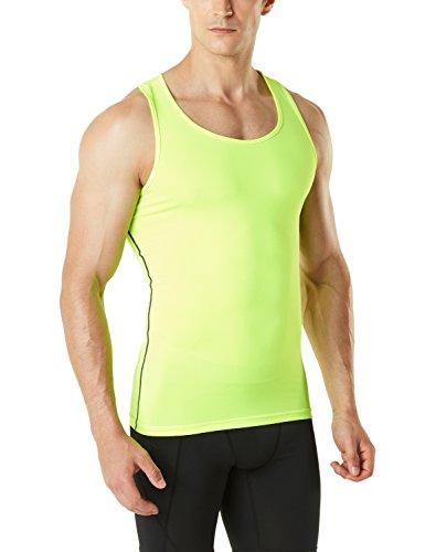 TSLA Cool & Dry Muskelshirts für Herren, Ärmellose Kompressions-Sporthemden, Mun04 1pack - Neon Yellow, L