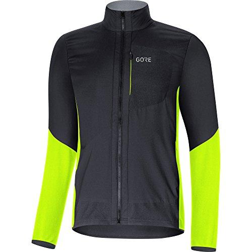GORE WEAR Chaqueta cortavientos de ciclismo para hombre, C5 GORE WINDSTOPPER Insulated Jacket, M, Negro/Amarillo neón, 100268