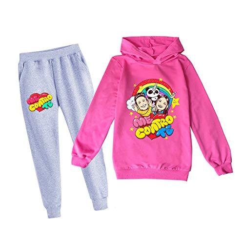 COOLGIRL - Conjunto de pantalones con capucha y sudadera de forro polar con capucha y capucha para mujer Rosa Rossa-ct1026 140 cm