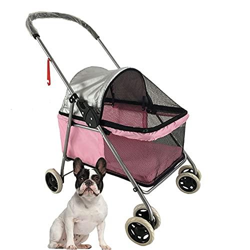 Smvala Cochecito para Gatos Perros Conejo Carrito de Viaje para Mascotas pequeñas para Animales pequeños o medianos de hasta 26 Libras portátil Plegable Transpirable y...