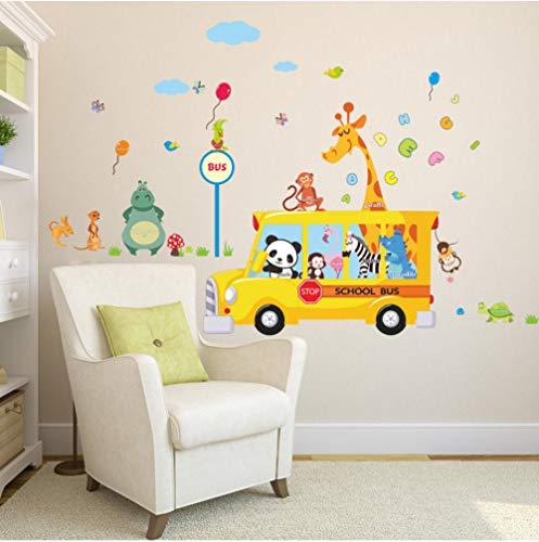 GVFTG Giraffe aap Panda dieren lopen naar school met de bus wandtattoos voor kinderkamer naar huis muurkunst decor poster DIY sticker 100X170cm