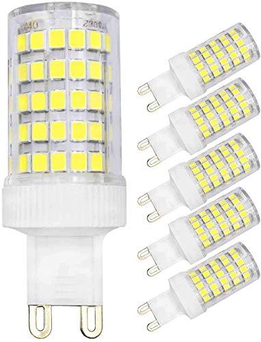 JFFFFWI Bombilla LED G9 10W Equivalente a 80W Halógena Blanco frío 6500k 800lm 220V 360 & deg;Lámpara de Base de Dos Clavijas con Ahorro de energía y ángulo de Haz (Paquete de 5)