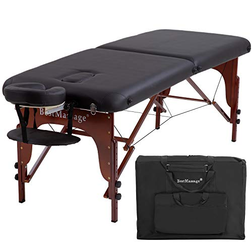 Portable Massage Table Massage Bed SPA Bed Height Adjustable 2 Fold Massage Table 73 Inch Long 28 Inch Wide PU Portable Salon Bed Deluxe Backpack Reiki Table