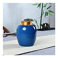 NMSB 葬儀灰ジャー壺のために人間の火葬ペット灰ホルダーセラミック記念品パル灰骨壷棺のために骨壺シール収納缶 (Color : Blue)