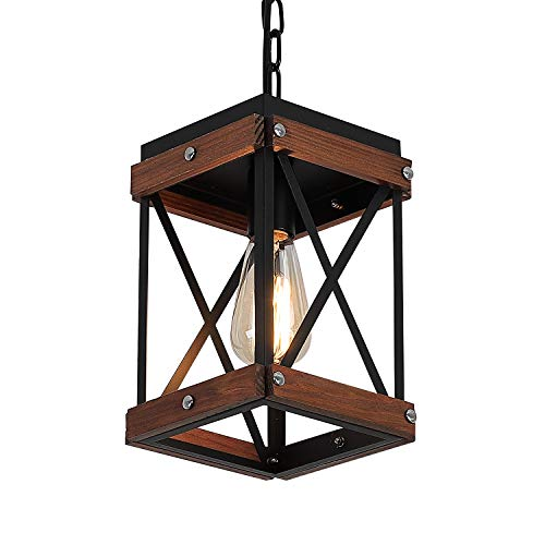 Fivess Lighting Rustic Farmhouse Pendant Light with Wood and Metal Cage, One-Light Adjustable Chains Industrial Mini Pendant Lighting Fixture for Kitchen Island Cafe Bar, Black