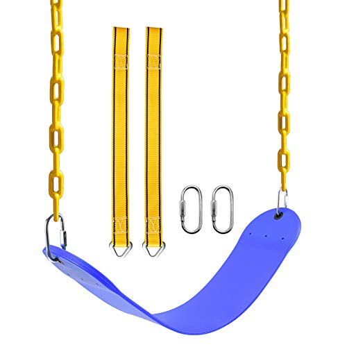 PACEARTH Swing Seat with Heavy Duty 68.9 inch Anti-Rust Plastic Coated Chains, 23.6 inch Tree Hanging Straps and Locking Buckles-Outdoor Playground Tree Swing Set Accessories Replacement (Blue)