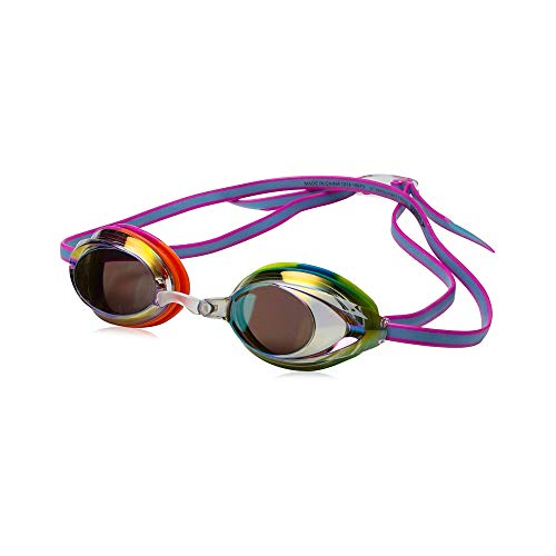 Speedo Jr Vanquisher 2.0 Mirrored Swim Goggles, Rainbow Tye-Dye, 1SZ