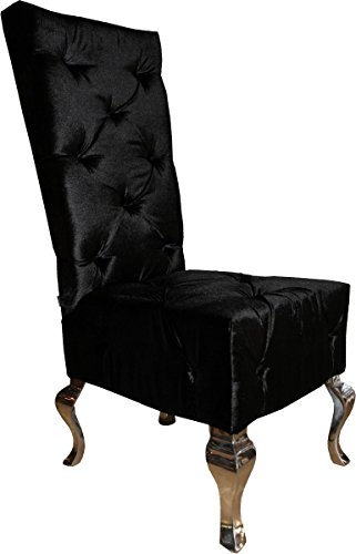 Casa Padrino Designer Esszimmerstuhl Schwarz/Silber Qualität - Hochlehner Stuhl